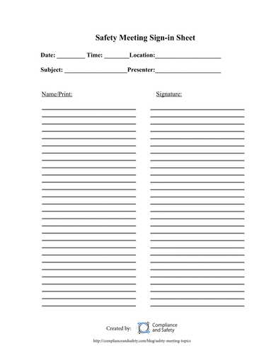 basic safety meeting sign in sheet