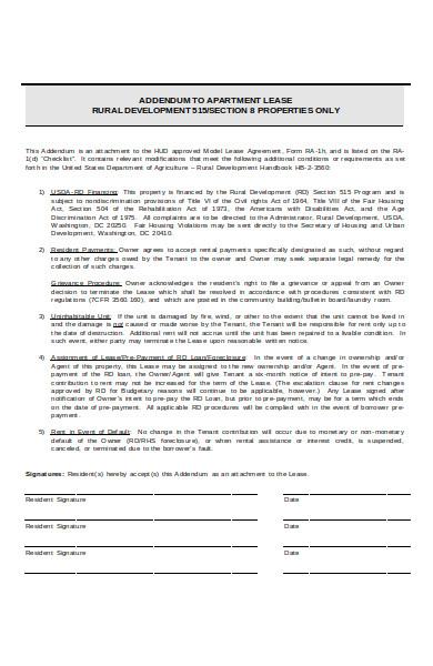 basic usda financing addendum