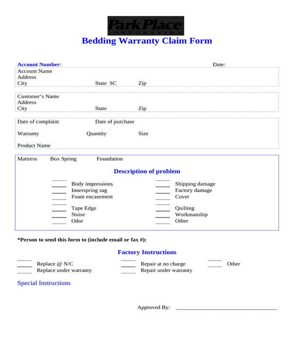 bedding warranty claim form