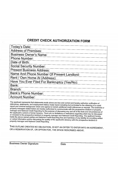business credit check forms