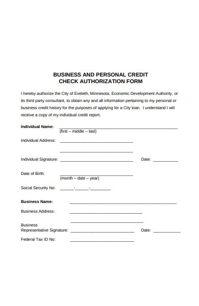 business and personal credit check authorization form