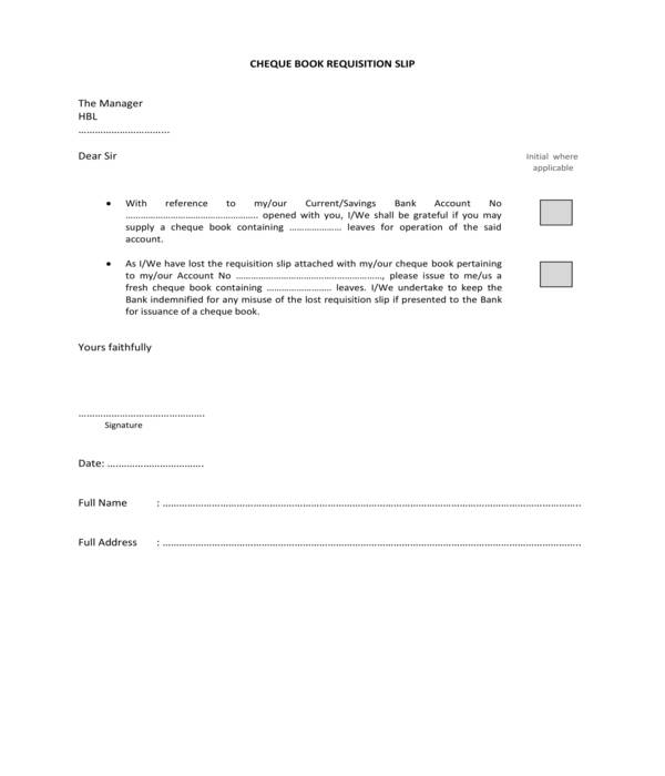 cheque book requisition slip form