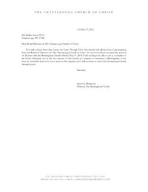 church board resignation letter sample
