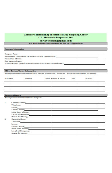 commercial general rental application form