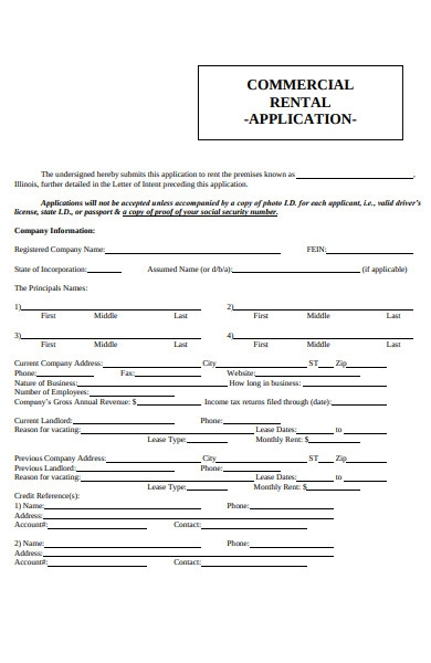 commercial rental application forms