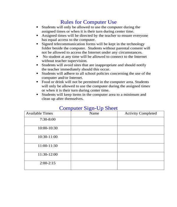 computer sign up sheet