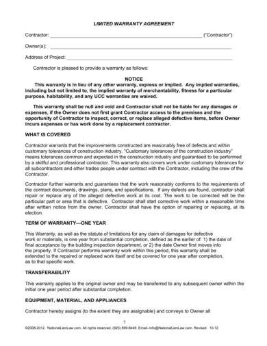 contractor limited warranty agreement form