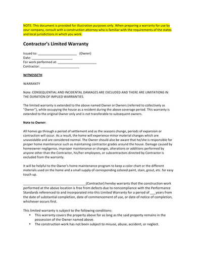 contractor limited warranty form