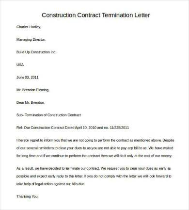 contractor termination letter of business contract