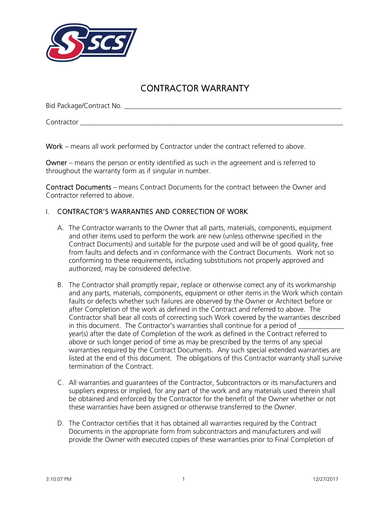 contractor warranty form template
