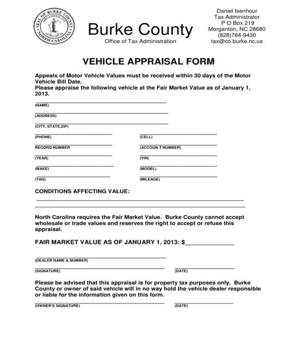 county vehicle appraisal form
