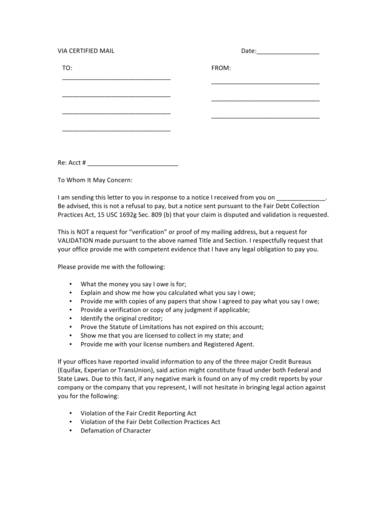 debt validation letter template sample