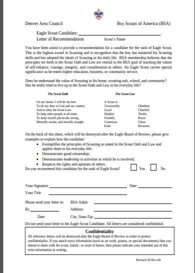 denver council eagle scout letter of recommendation