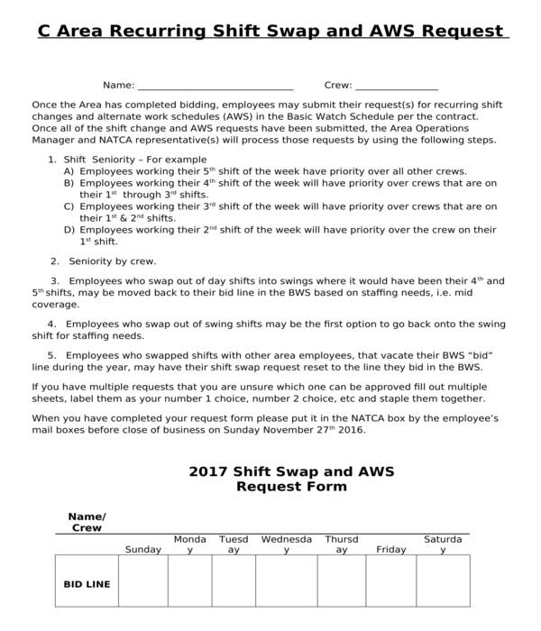 Free 5 Employee Shift Swap Forms In Pdf Ms Word