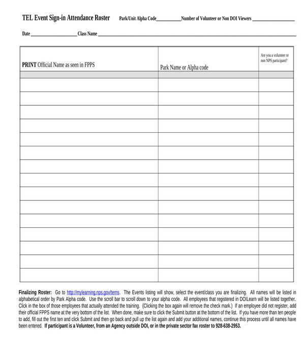 employee event sign in sheet