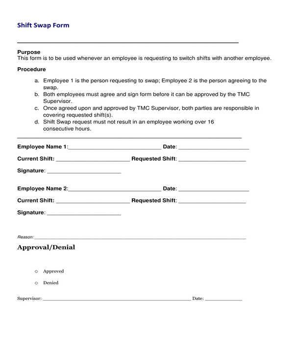 employee shift swap form template sample