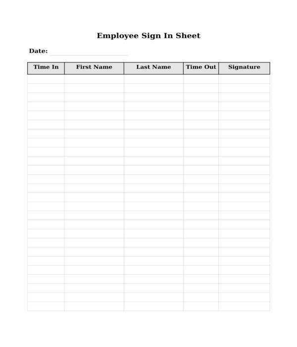 employee sign in sheet in doc