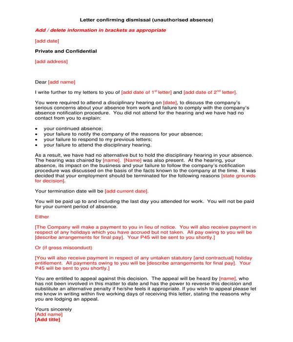 employment termination dismissal confirmation letter