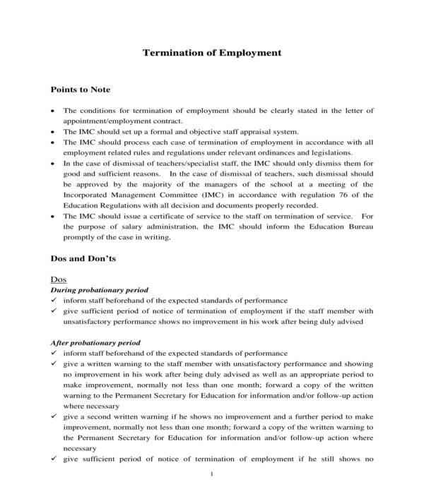 employment termination letter information sheet