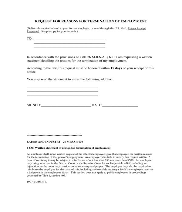 employment termination reasons request letter