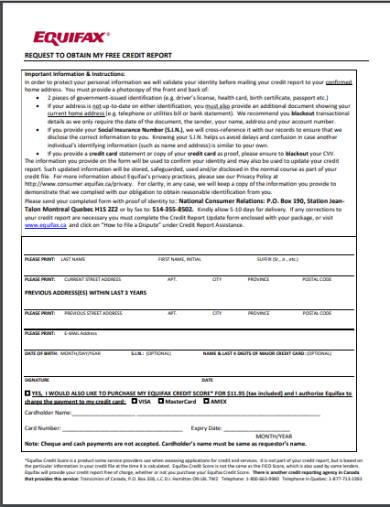 equifax free credit report request form