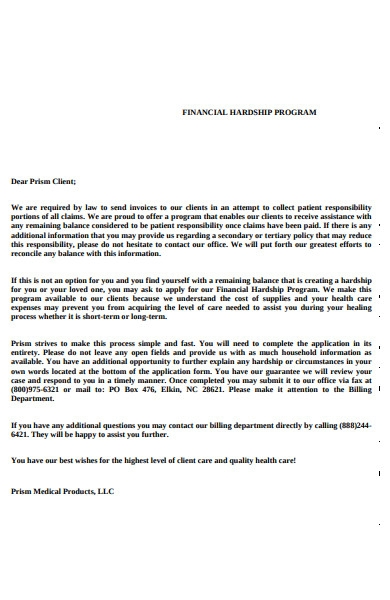 Sample Hardship Letter To Creditors from images.sampleforms.com