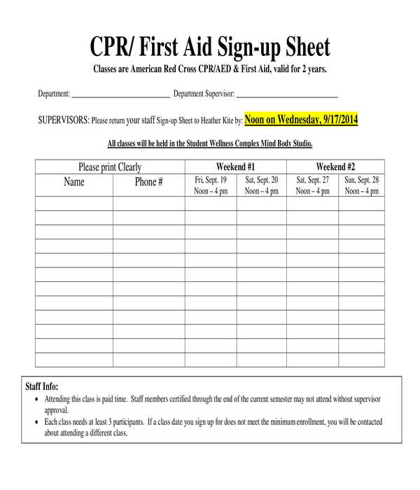 first aid sign up sheet