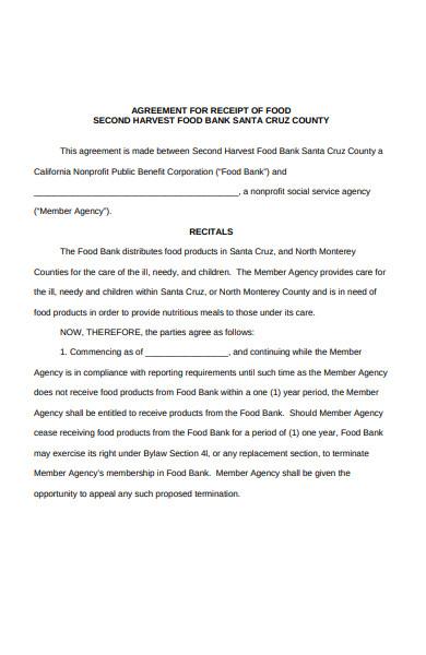 food receipt agreement form