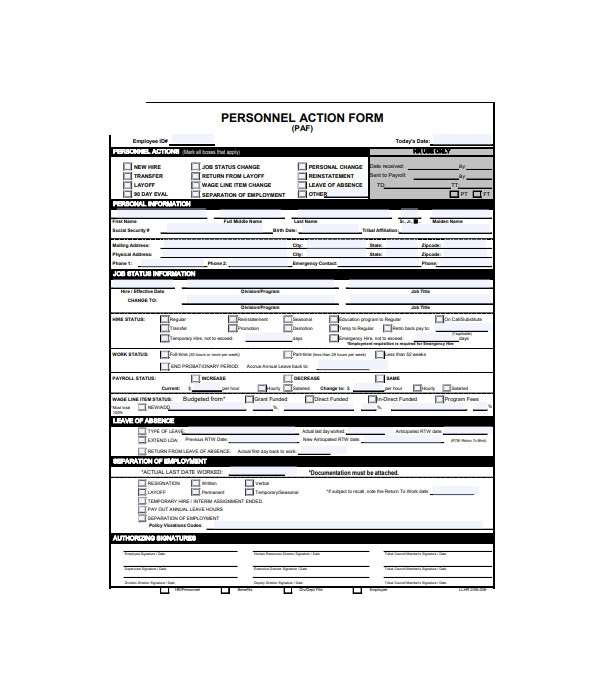 general personnel action form