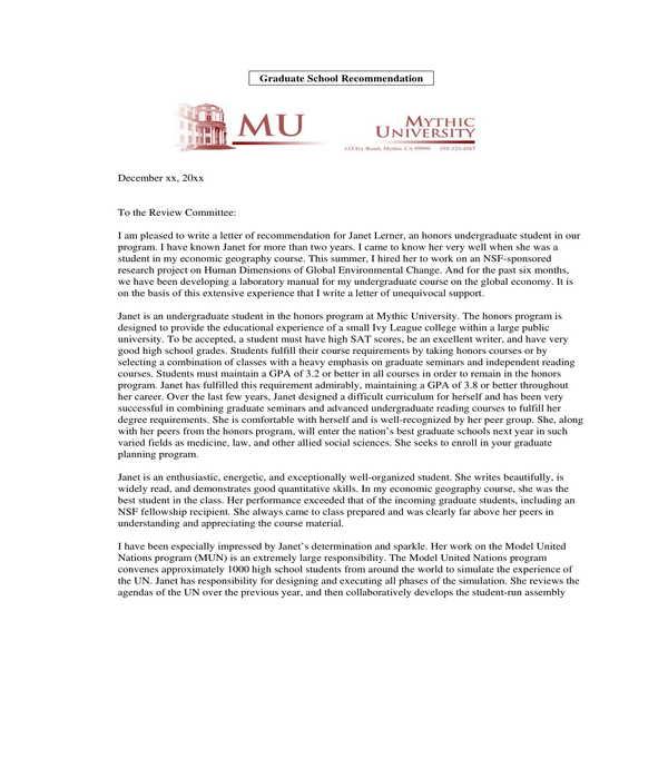 graduate school letter of recommendation