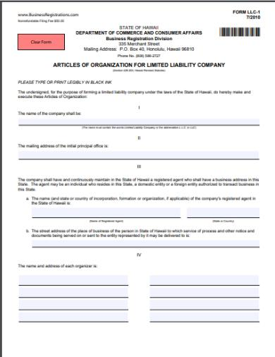 hawaii articles of organization form