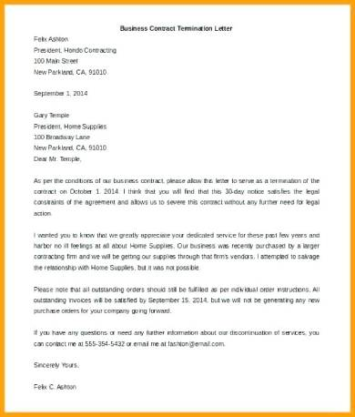letter of termination general contractor