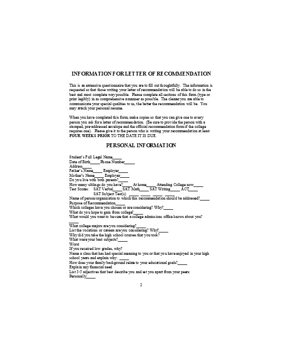 free 7  letters of recommendation in pdf