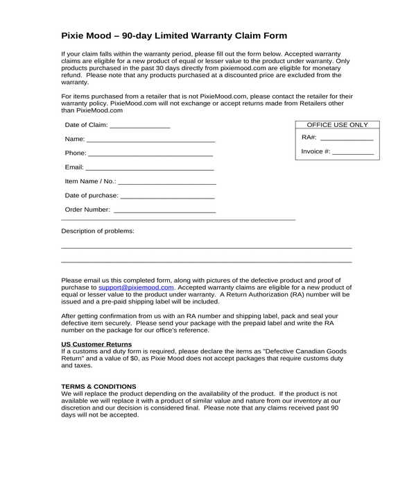 limited warranty claim form