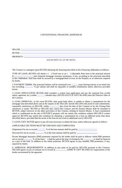 loan conventional financing addendum
