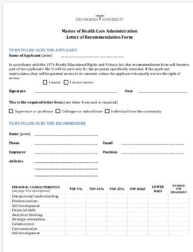 mha recommendation letter form