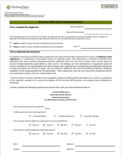mpa recommendation letter form