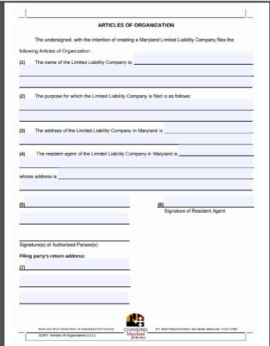 maryland state articles of organization form