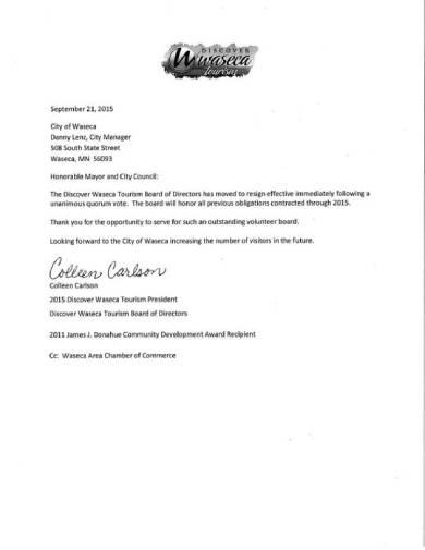 member of the board resignation letter sample