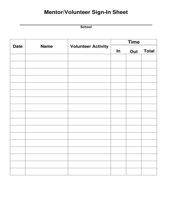 mentor volunteer sign in sheet
