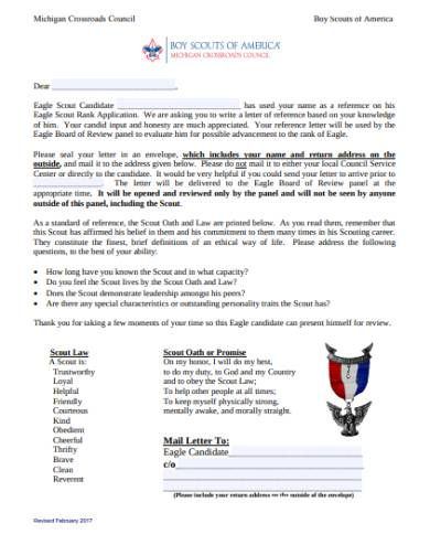 michigan crossroads council eagle reference letter
