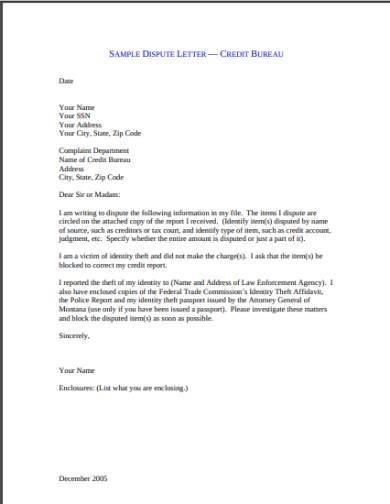 montana department of justice sample credit dispute letter