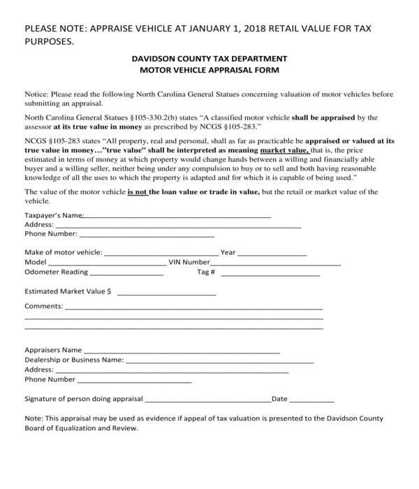 motor vehicle appraisal form