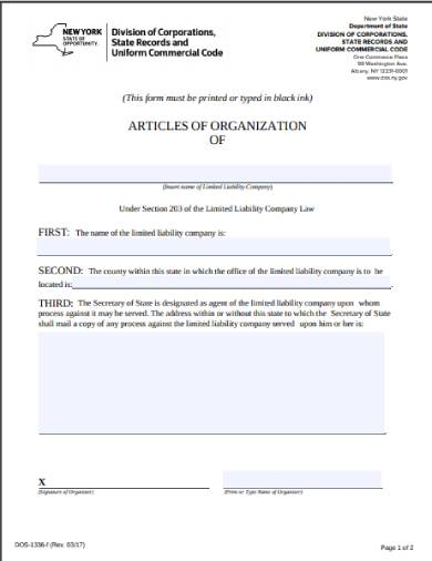 new york state articles of organization form