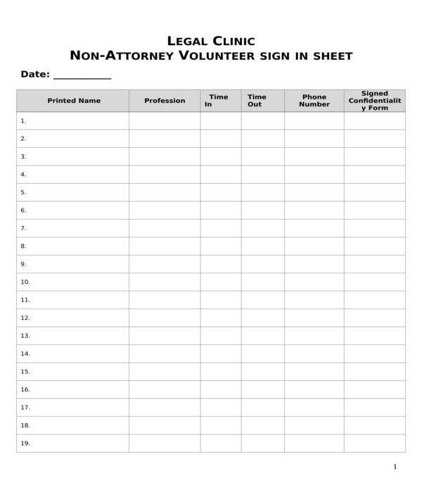 non attorney volunteer sign in sheet