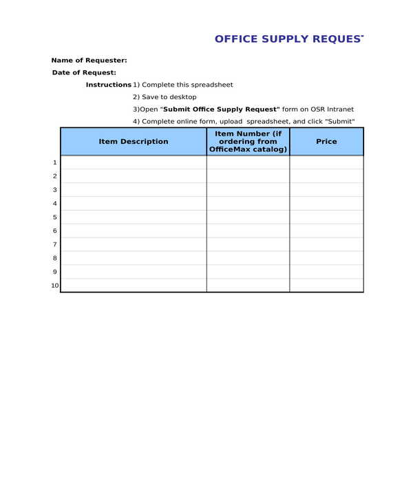 Free 5 Office Requisition Forms In Pdf Excel