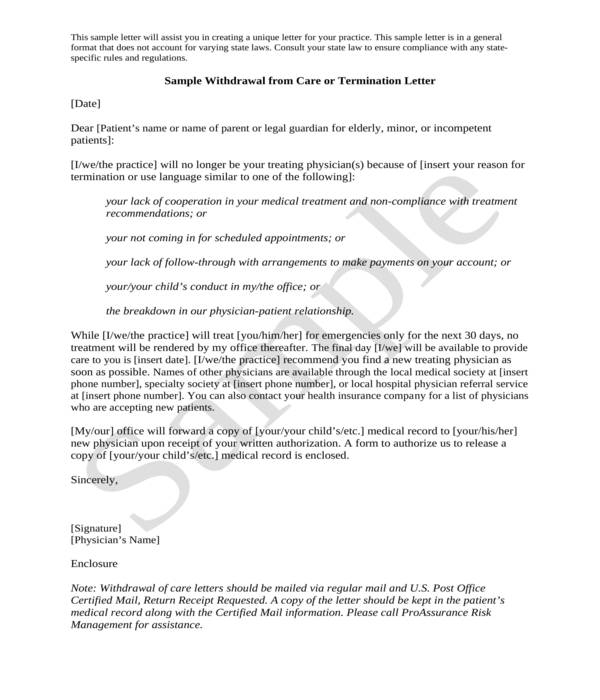 patient care withdrawal termination letter