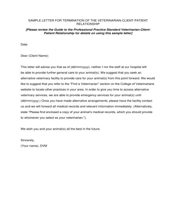 patient veterinarian relationship termination letter