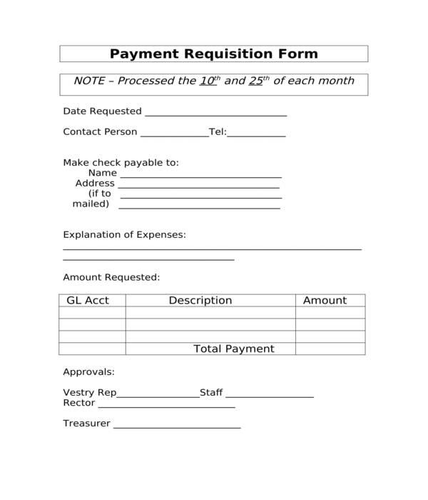 payment requisition form