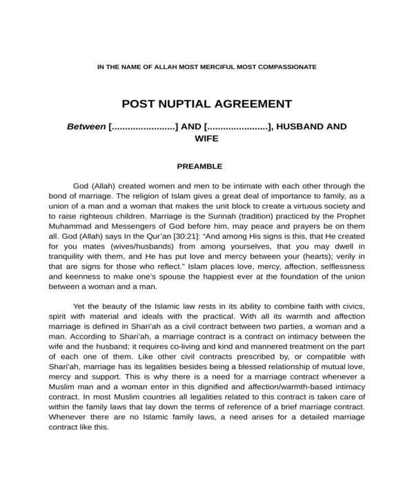 postnuptial agreement form sample